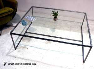 Industrial Glass Top Coffee Table